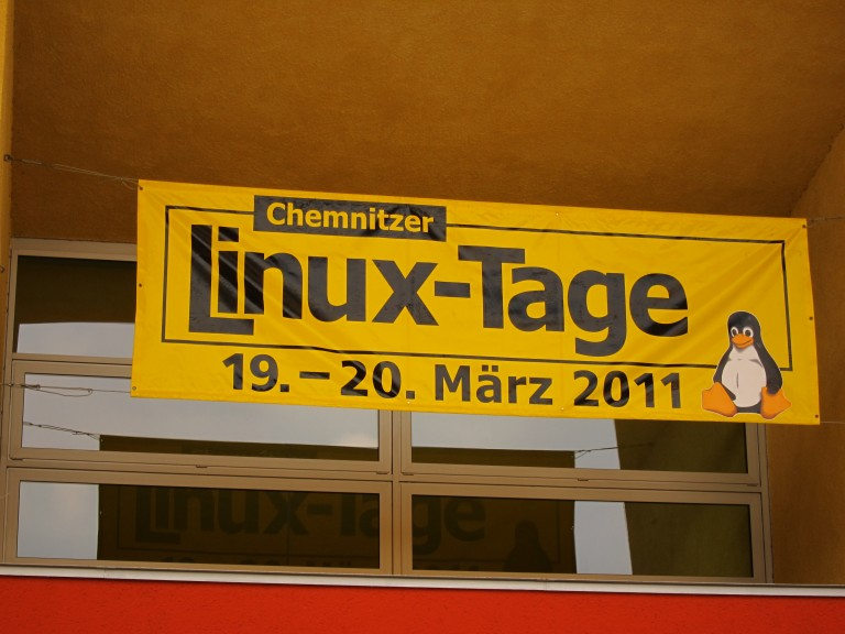 Banner at the entrance of Chemnitzer Linux-Tage 2011